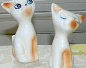 A Bashful Pair of Vintage Kitty Cat Salt and Pepper Shakers
