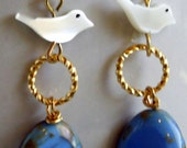 Jewelry, Earrings, Bird Earrings, Blue Earrings, Gold Earrings, Mother of Pearl Earrings, Summer Earrings, Trendy Earrings