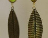 Handcrafted, Jewelry Earrings, Gold Feather, Green Picasso