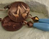Copper Earrings - Stamped Earrings - Blue Earrings - Handcrafted by Glamearrings