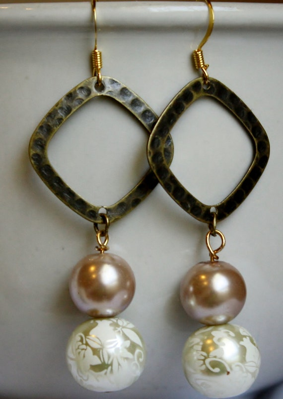 Jewelry, Earrings, HIgh Fashion, Faux Pearls, Copper Hoop Earrings, Wedding Bridal, Summer Earrings