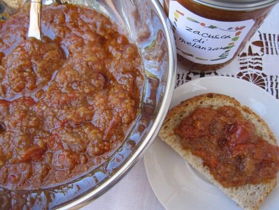 ROASTED EGGPLANT SPREAD/dip  - Zacusca di melanzane - 16 oz. jars,  artisan, handmade in  small batches