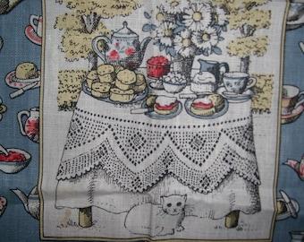 vintage english tea room tea towel