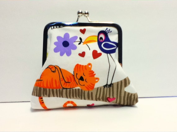 Clutch with Nickle-Free Frame Cat and Bird