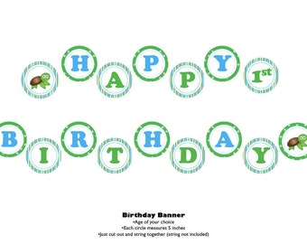 Sea Turtle Theme Happy Birthday Banner
