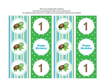 Sea Turtle Theme Cupcake Toppers/Tags