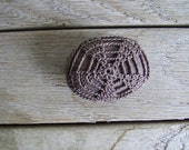 Crochet lace stone paperweight, dark dusty purple cotton and smooth round stone, No.21