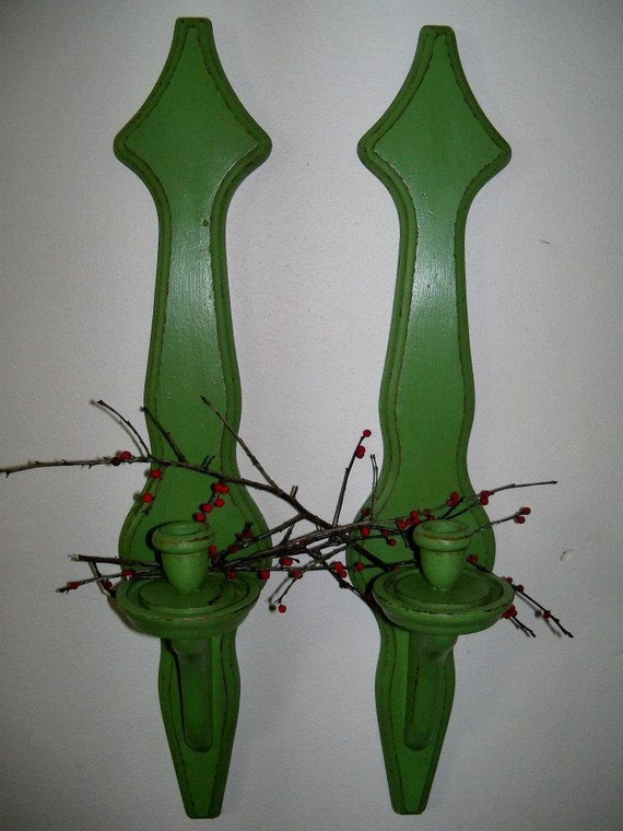 Upcycled Vintage Large Chunky Wood Candle Sconces / Wall Candle Holders, Distressed Peapod Green