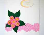 Quilled pink daisy greeting card with love any occasion