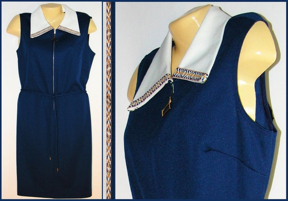 60s Space Age Navy knit MOD shift sheath Sun Dress with Belt large extra L-XL