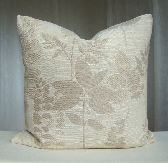 Items similar to Decorative Pillow Cover 18 x 18 Throw Pillow Beige Cream Accent Pillow Cushion ...