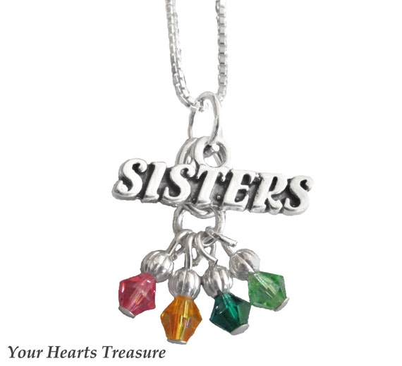Personalized Swarovski Birthstone Friend/Sisters Sterling Sister Necklace