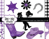 purple, black, and white cowgirl themed digital scrapbook clipart