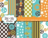 digital papers - robot and gear theme patterns in orange, blue, green and brown - INSTANT DOWNLOAD