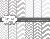 digital scrapbook papers - four shades of gray in three sizes of chevron - INSTANT DOWNLOAD