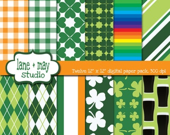saint patrick's day patterns - digital scrapbook papers - INSTANT DOWNLOAD