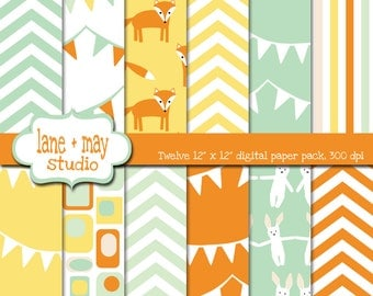 digital papers - mint green, orange and yellow fox and bunny patterns - INSTANT DOWNLOAD