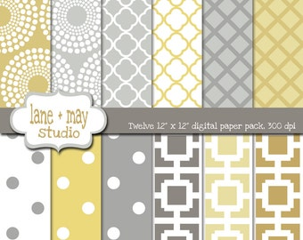 digital scrapbook papers - gray and yellow patterns - INSTANT DOWNLOAD