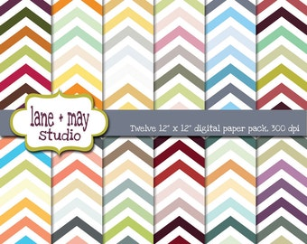 digital papers - multicolor chevron patterns - INSTANT DOWNLOAD