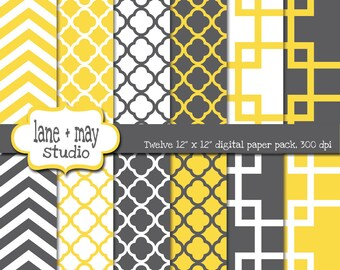 digital papers - geometric yellow, gray and white patterns - INSTANT DOWNLOAD