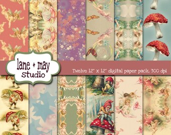 digital scrapbook papers - vintage fairy, angel and gnome patterns - INSTANT DOWNLOAD