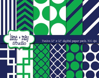digital papers - navy and apple green geometric patterns 1 - INSTANT DOWNLOAD
