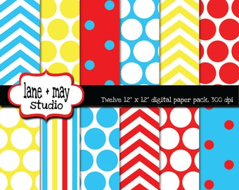 digital papers - red, blue and yellow chevron, polka dot and stripe patterns - INSTANT DOWNLOAD