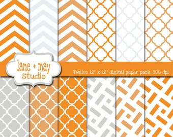 digital scrapbook papers - tangerine orange and gray chevron and quatrefoil - INSTANT DOWNLOAD