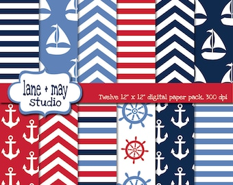 digital scrapbook papers - red, white and blue nautical patterns - INSTANT DOWNLOAD