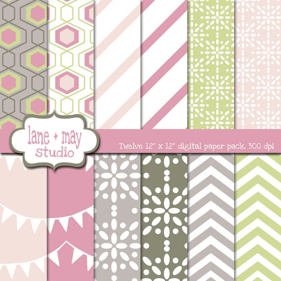 digital scrapbook papers - pastel pink and green chevron, bunting and stripes - INSTANT DOWNLOAD