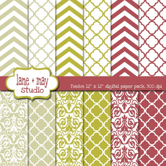 digital scrapbook papers - chevron, quatrefoil and damask patterns in rose pink, chartreuse green and tan - INSTANT DOWNLOAD