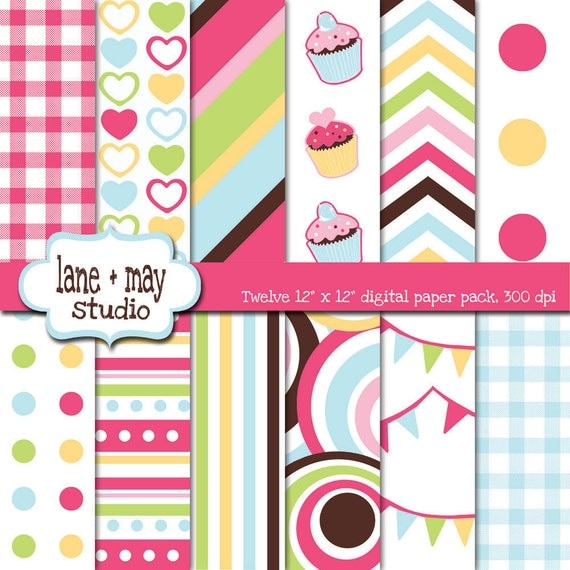 digital scrapbook papers - cupcake theme party - INSTANT DOWNLOAD