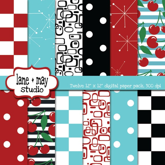 digital scrapbook papers - red and aqua 50's retro diner themed - INSTANT DOWNLOAD
