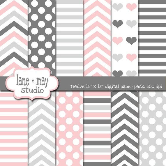digital scrapbook papers - pink and gray stripe, chevron and polka dot patterns - INSTANT DOWNLOAD