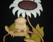 Frog And Sunflower Wood Art Intarsia Wood Mosaic Segmentation Garden Decor Wall Hanging Art Acrylic Painting