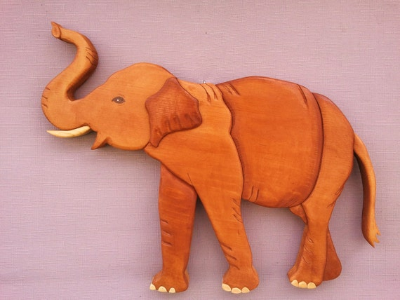 Elephant Wood Art Intarsia Wood Mosaic Segmentaion Wall Hanging Acrylic Painting