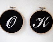 Embroidery Hoop Word OK (Any Word) - Hand Stitched Framed Shabby Chic Home Decor