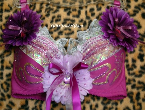 Purple Daisy Bra. Great for EDC (Electric Daisy Carnival) Ready-to-ship.