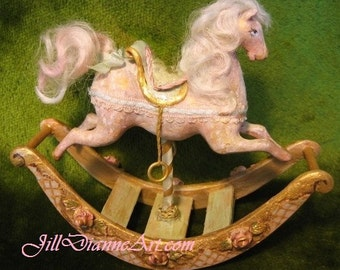 Hand-sculpted and carved PINK cottage ROCKING HORSE - Jill Dianne Dollhouse Miniatures