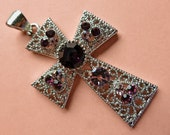 Wine and Mauve Swarovski Crystals Silver Cross Pendant