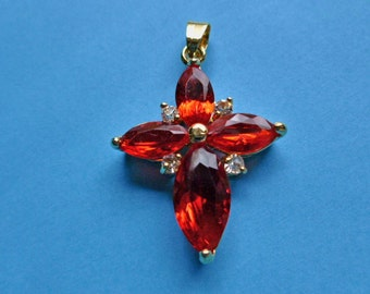 Ruby Red & Clear Marquise Crystals Petite Cross 18K Goldplated Cross Pendant