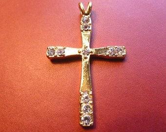 Shiny Goldtone Cross with Rhinestones Cross Pendant