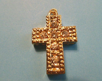 Rhinestone Goldtone Focal Cross Textured Pendant