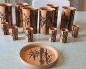 REDUCED Vintage Bamboo Cups 13 Pieces 1940s 1950s Hand Painted Set of 6 DRinking Glasses 6 SHOT glasses and TRAY