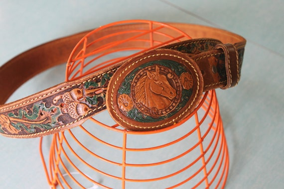 Vintage Leather Horse Belt Buckle and Handpainted Matching Leather Belt - Leaves, acorns...