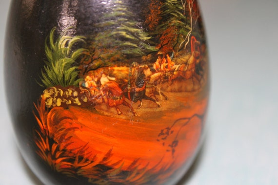 Handpainted Large Wooden Wood Egg- Horses Riders Woods Trees- Beautiful colors