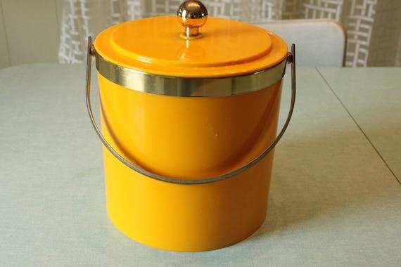 Crazy Cool Barware vintage Sunshine Yellow Ice Bucket- real metal Hardware 1960s 1970s