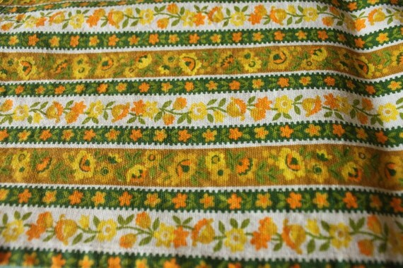 One 1970's Retro Valance Curtains Valances Handmade Yellow Green Orange Flowers Stripes