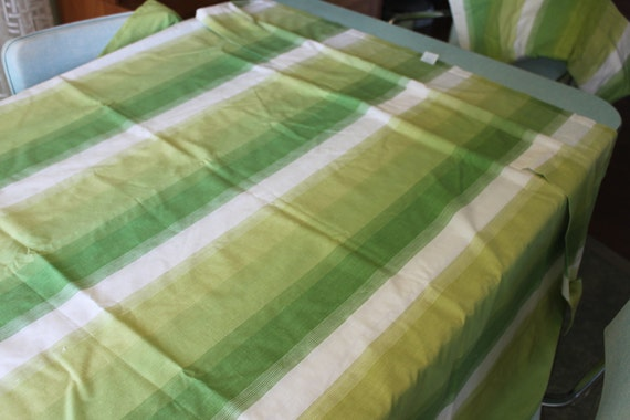 Vintage Sears Roebuck Perma Prest Percale TWIN sheet SET Green and White Gradient Stripes