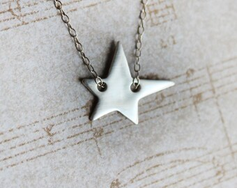 Silver Star Necklace - Sterling Silver Necklace - Fine Silver - Silver Jewelry - PMC - Metal Clay